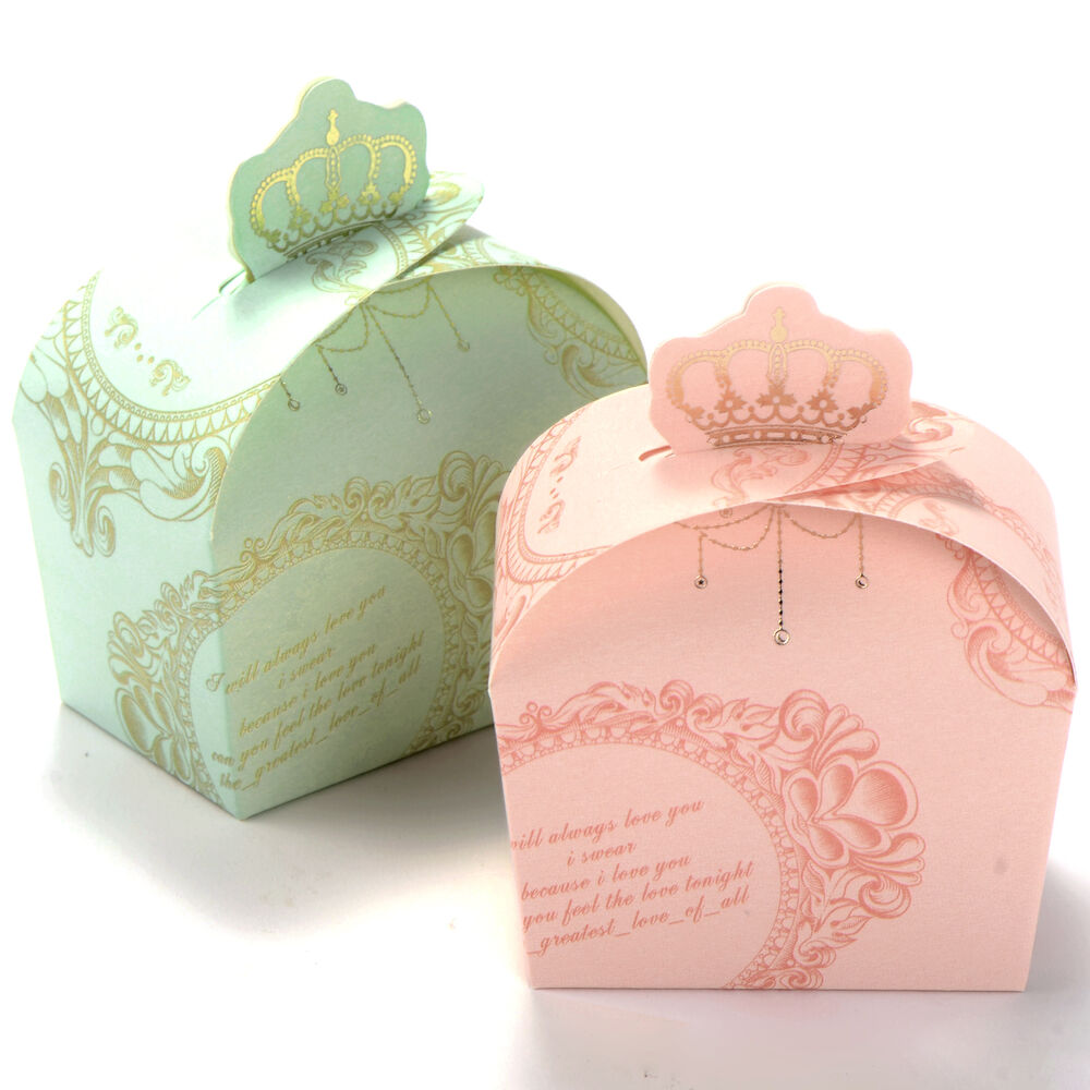 Wedding Favor Boxes: 50x Wedding Favor Candy Box Royal Crown Design Baby Shower