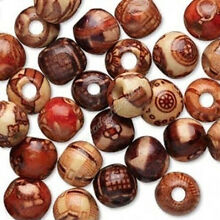 Wholesale 100pcs Mixed Natural Wood Round Charm Spacer Beads Bracelet Necklace
