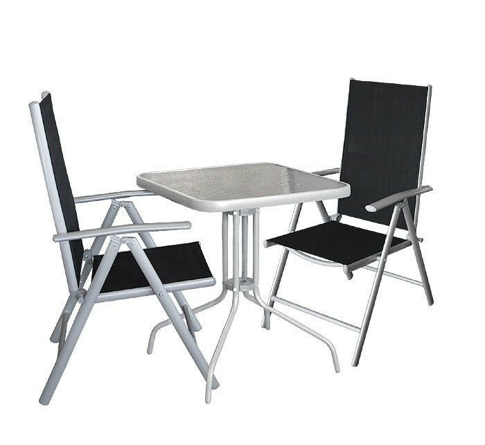3tlg gartengarnitur balkonm bel bistro set glastisch 60x60cm alu hochlehner ebay. Black Bedroom Furniture Sets. Home Design Ideas