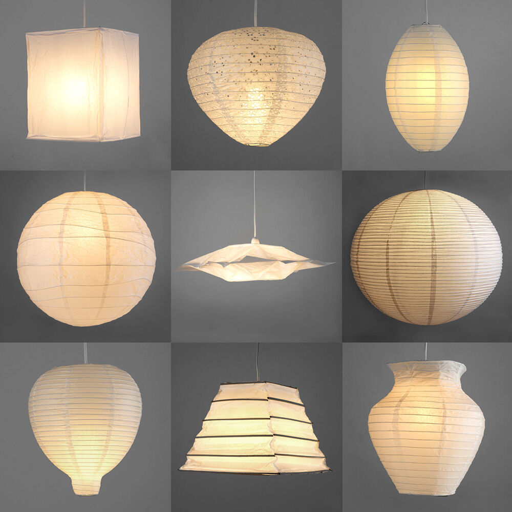 Pair Of Modern Paper Ceiling Pendant Light Lamp Shades