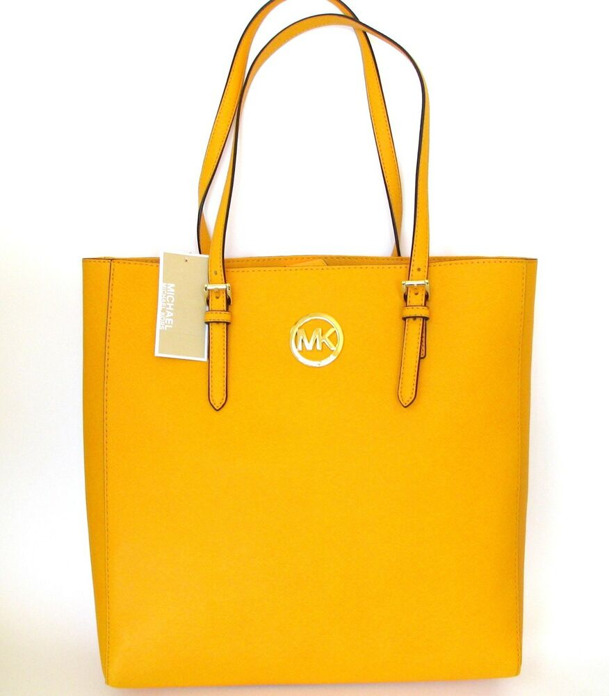 161c27dfc129 Details about NEW MICHAEL KORS JET SET TRAVEL VINTAGE YELLOW LEATHER LARGE  TOTE
