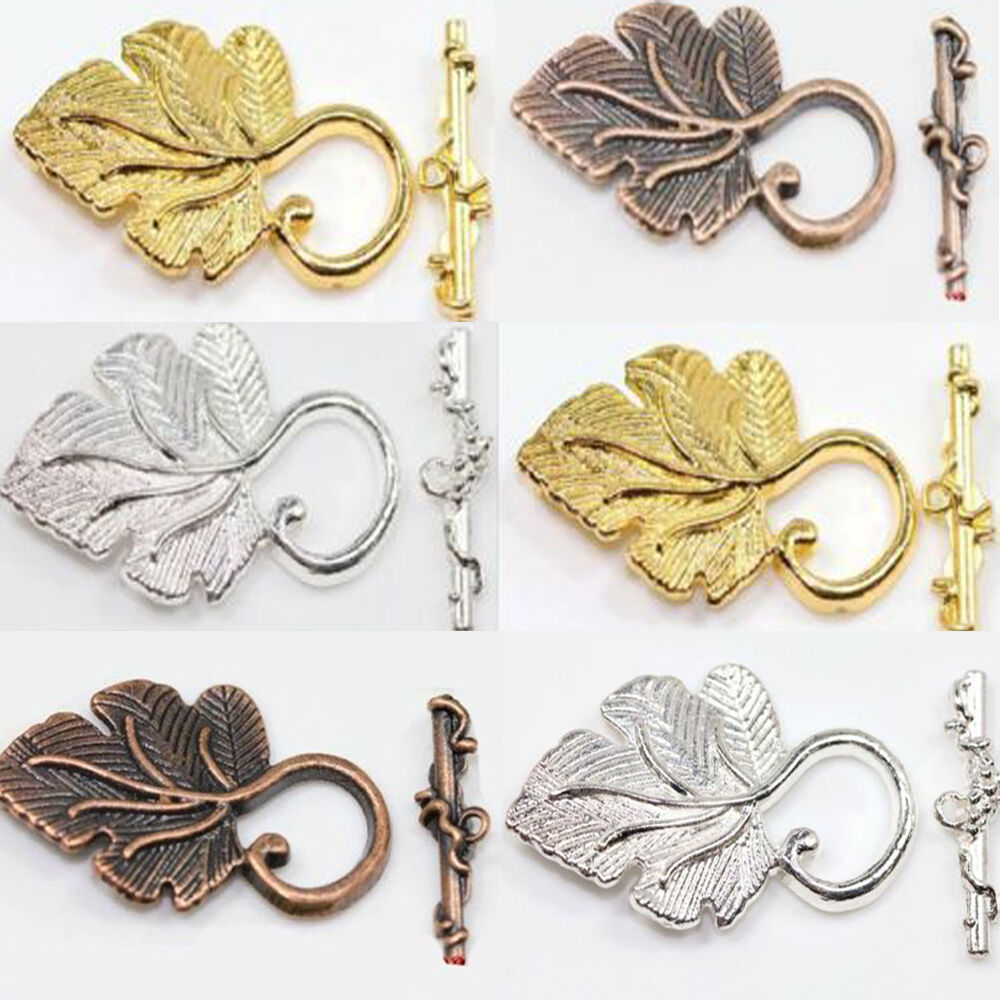 new 2sets gold silver copper grape leaf toggle clasp