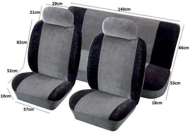 fabric velour racing style car seat covers full set protectors grey black ebay. Black Bedroom Furniture Sets. Home Design Ideas