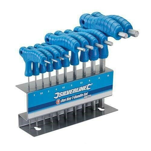 10 Piece T Handle Hex Allen Key Wrench Tool Set Sizes 2
