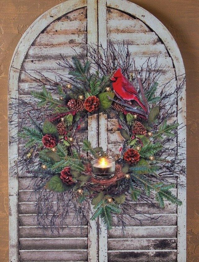 Shutter with cardinal wreath radiance lighted wall art w - Watch over the garden wall online free ...