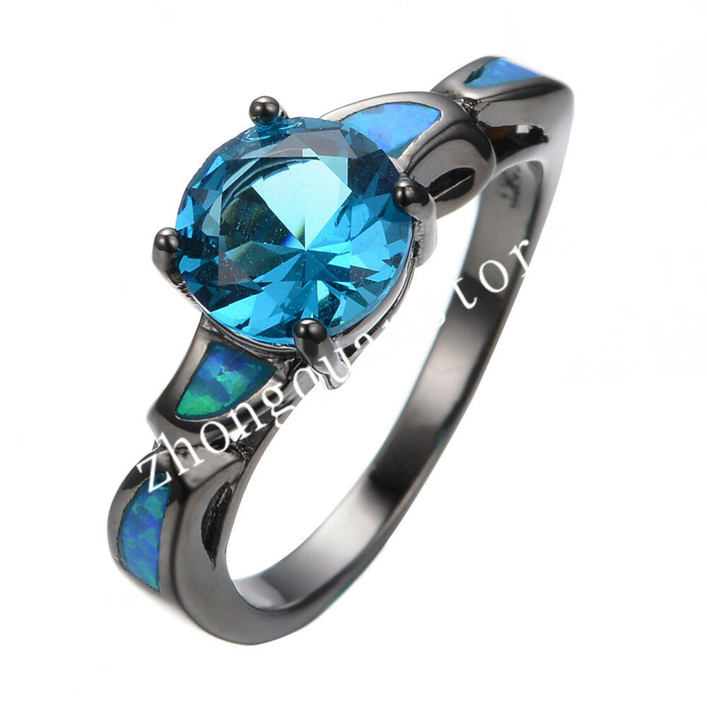Size 6 9 Opal Ring Blue Aquamarine Womens 10KT Black Gold Filled Wedding Jewe