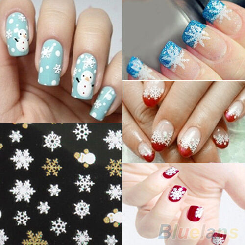Snowflakes Snowman 3D Nail Art Stickers Decals Girls