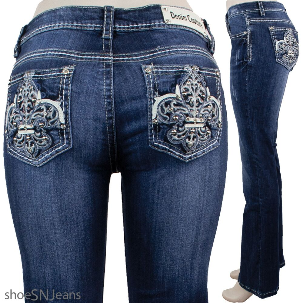 NEW Women Rhinestone Pockets Blue Wash Denim Couture Stretch Boot Cut Jeans | eBay