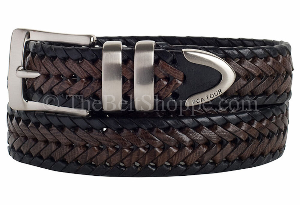 pga tour s brown black weaved braided leather belt