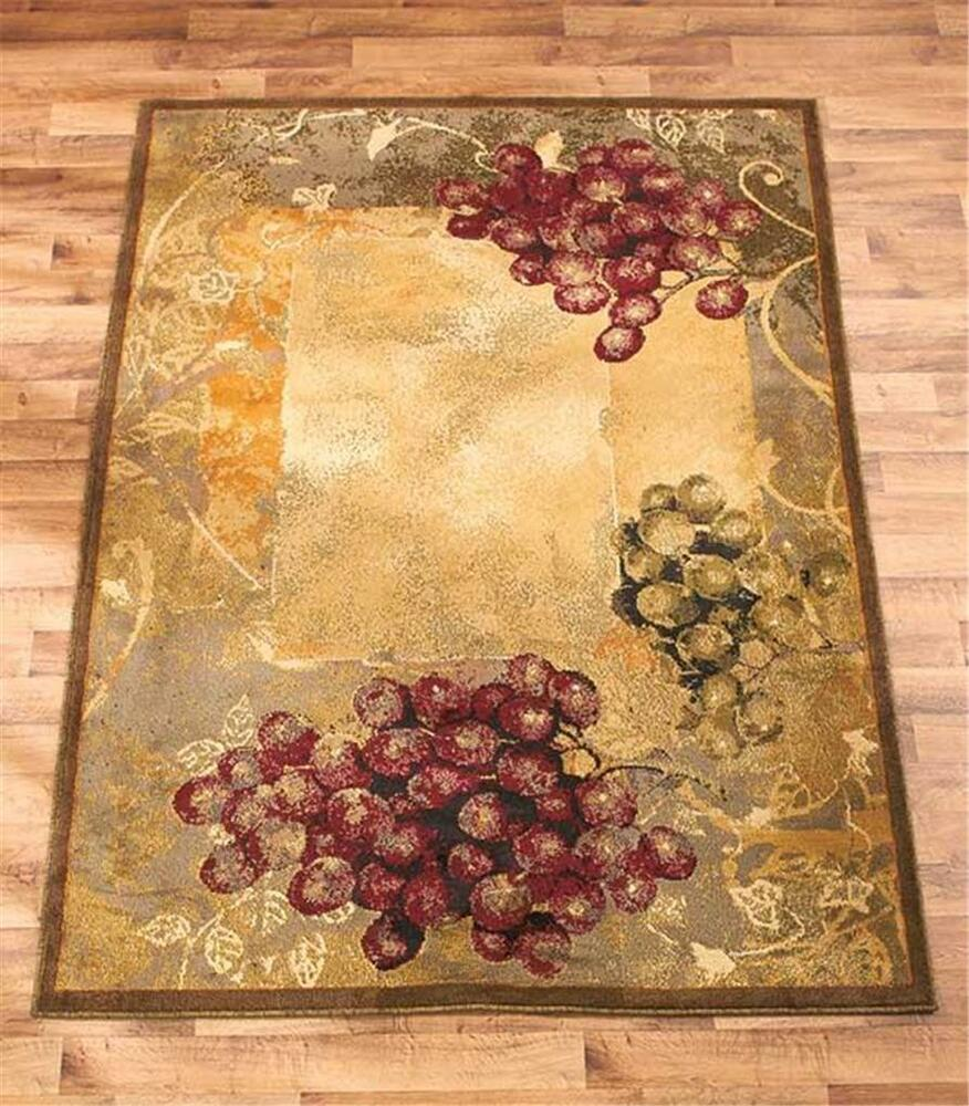Decorative Wine Vineyard Themed Area Rug Carpet Olefin W
