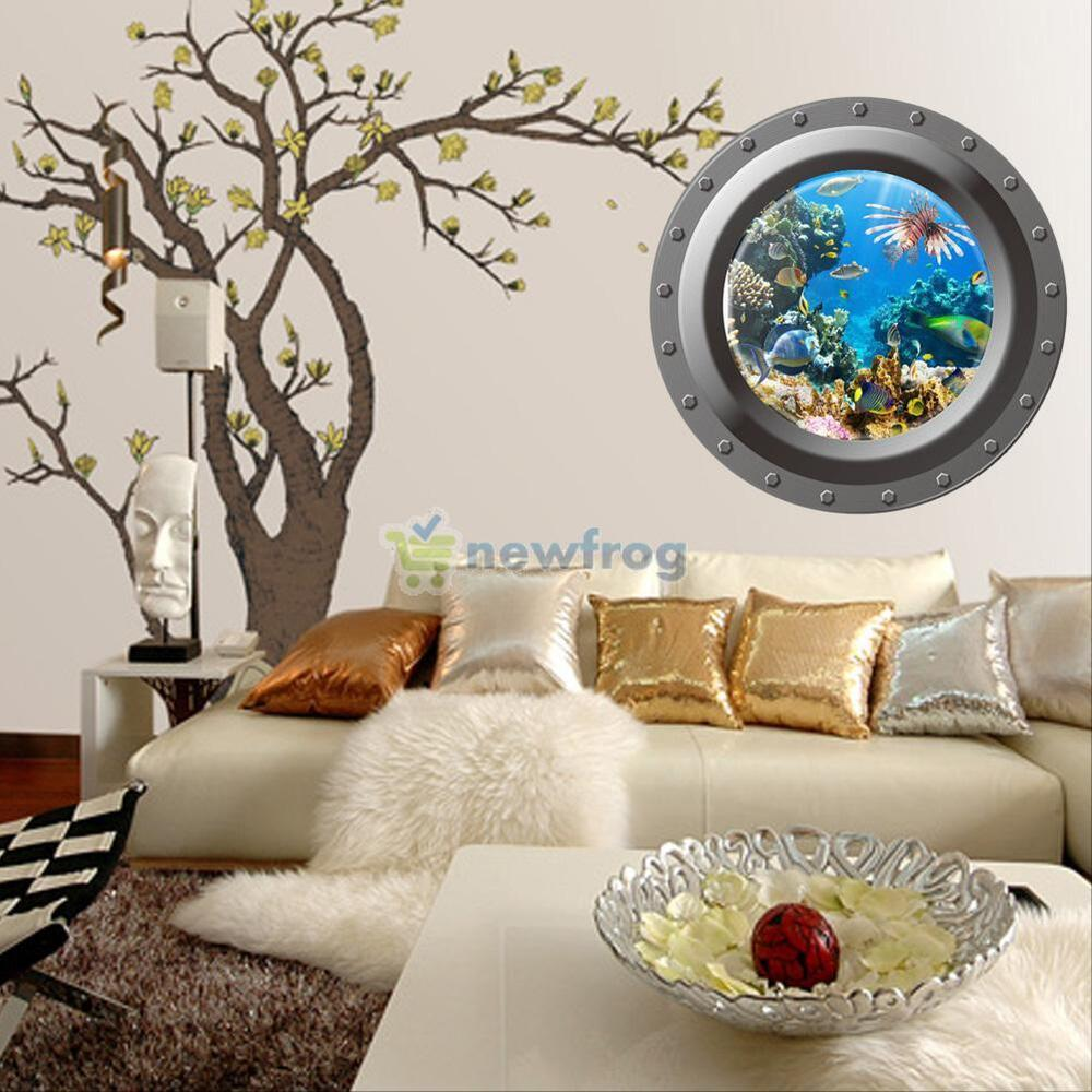 ocean view porthole wall decal sea cruise wall art room. Black Bedroom Furniture Sets. Home Design Ideas