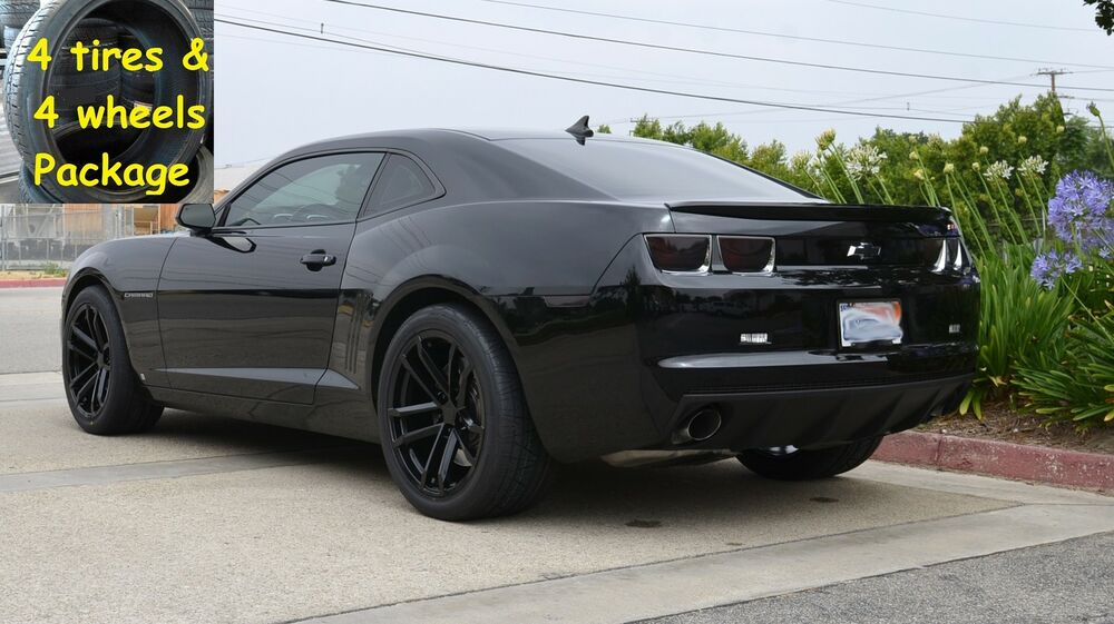 4 20x10 tires package gloss black camaro 2010 up 41 zl1. Black Bedroom Furniture Sets. Home Design Ideas