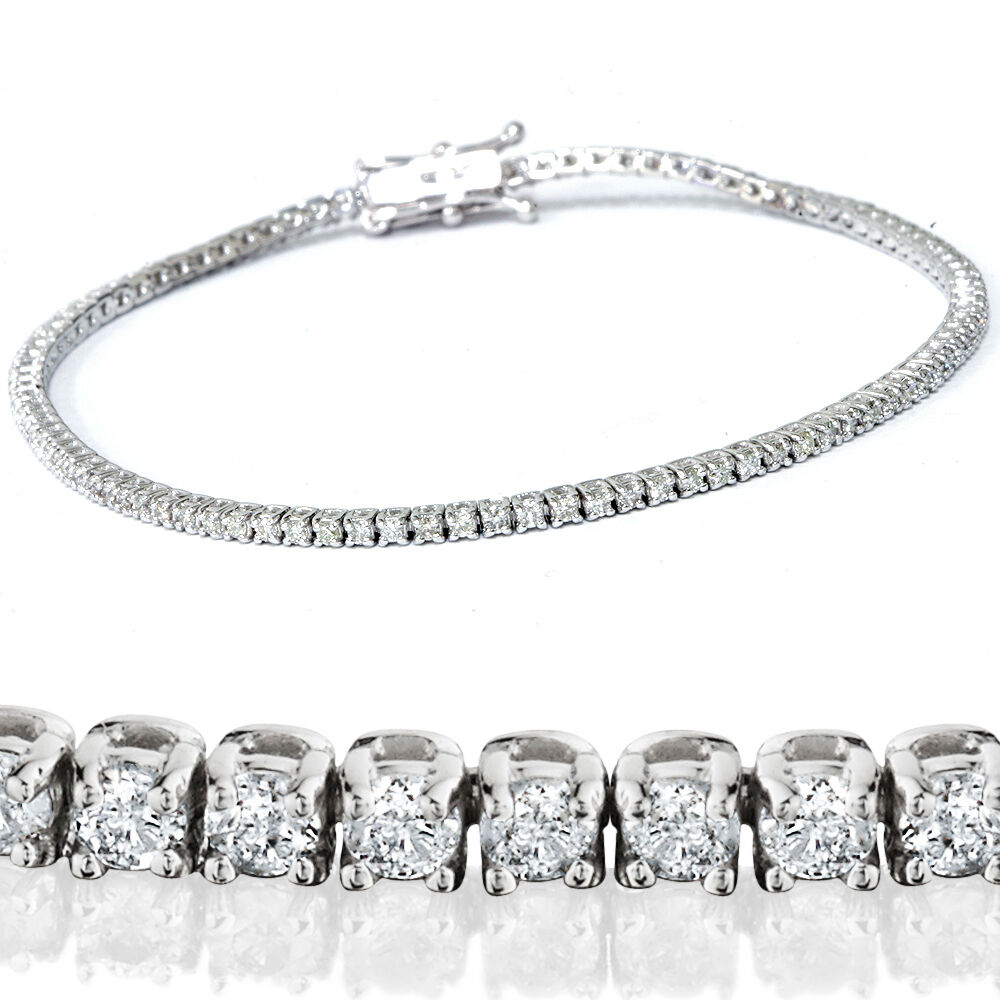2 1 2ct Genuine Diamond Tennis Bracelet Solid 14k White