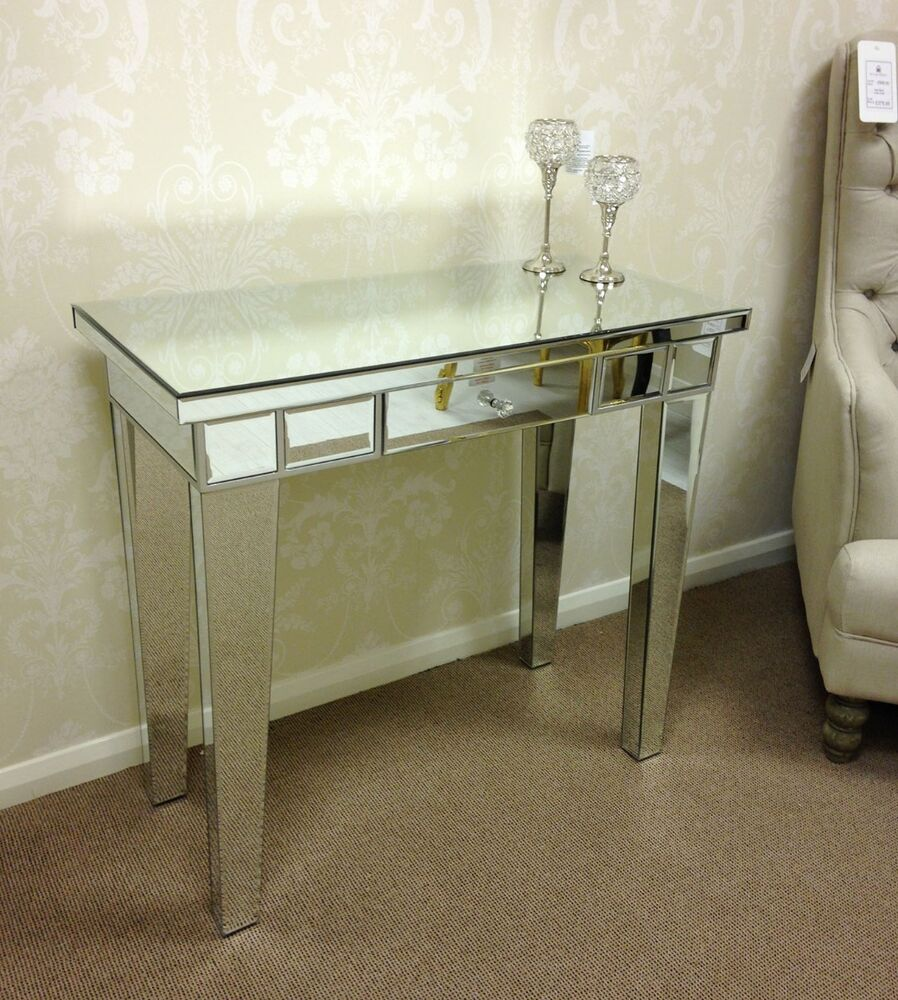 Modern silver mirrored glass venetian 1 drawer console - Contemporary console tables with drawers ...