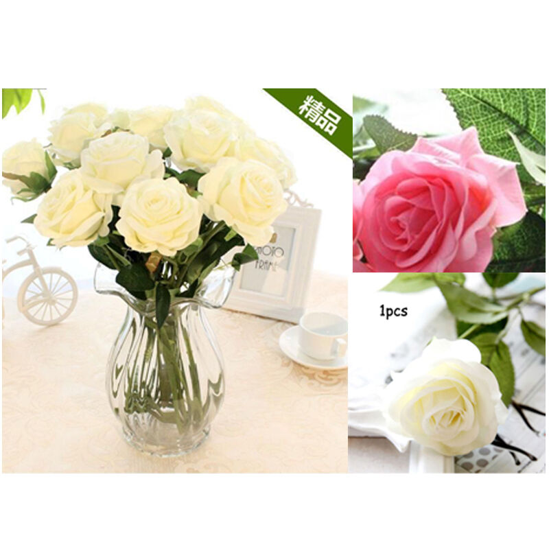 Handmade rose flowers bouquet decor real cloth real touch for Rose home decorations