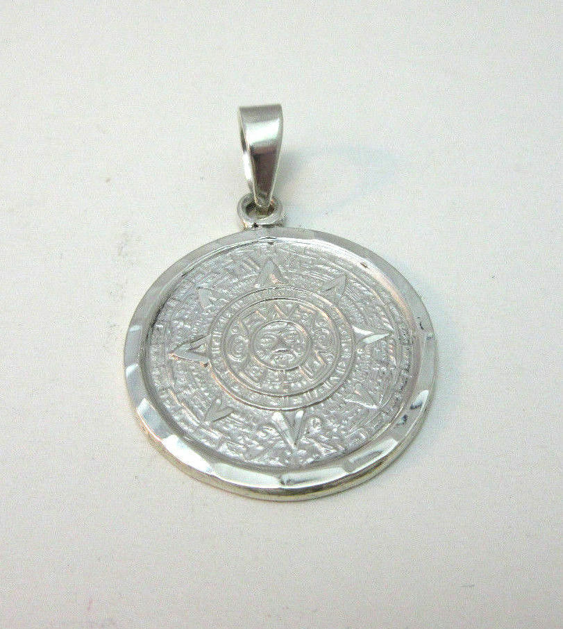 Aztec Calendar Necklace: STERLING SILVER AZTEC CALENDAR PENDANT MARKED MEXICO