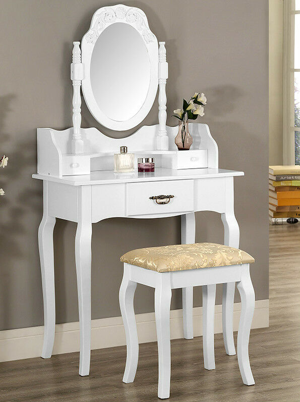 Dressing Table With Mirror And Stool: White Or Black Dressing Table Set With Stool And Oval
