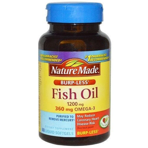 Nature made fish oil omega 3 burp less 1200 mg softgels for Fish oil 1400 mg