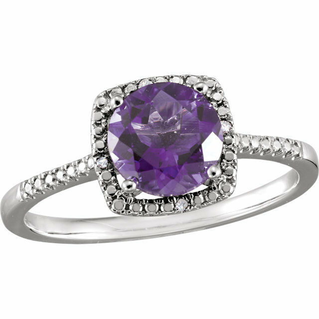 Genuine Amethyst And Diamond Halo Style Sterling Silver