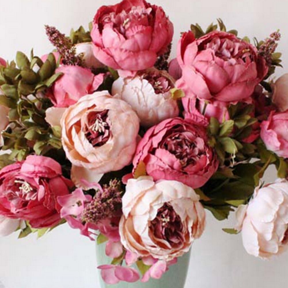 artificial bouquet 10 head peony silk flower fake home