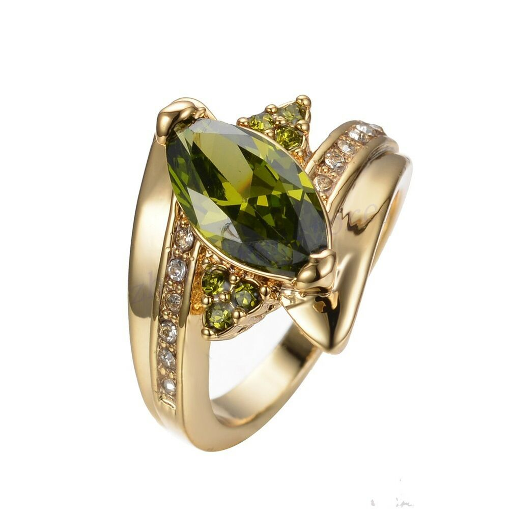 Jewelry cz ring size 8 9 green peridot women39s 10kt yellow for Cz wedding rings for women