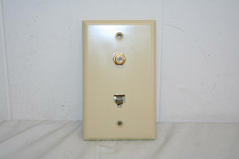 Coax Cable And Telephone Jack Dual Wall Plate Ivory New Ebay