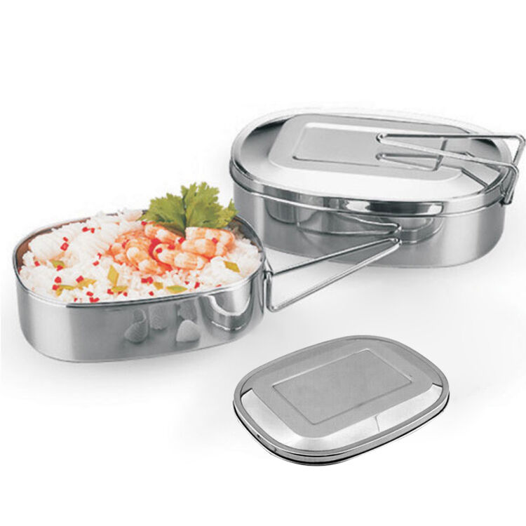 new stainless steel bento box food saver container student lunch box oval case ebay. Black Bedroom Furniture Sets. Home Design Ideas
