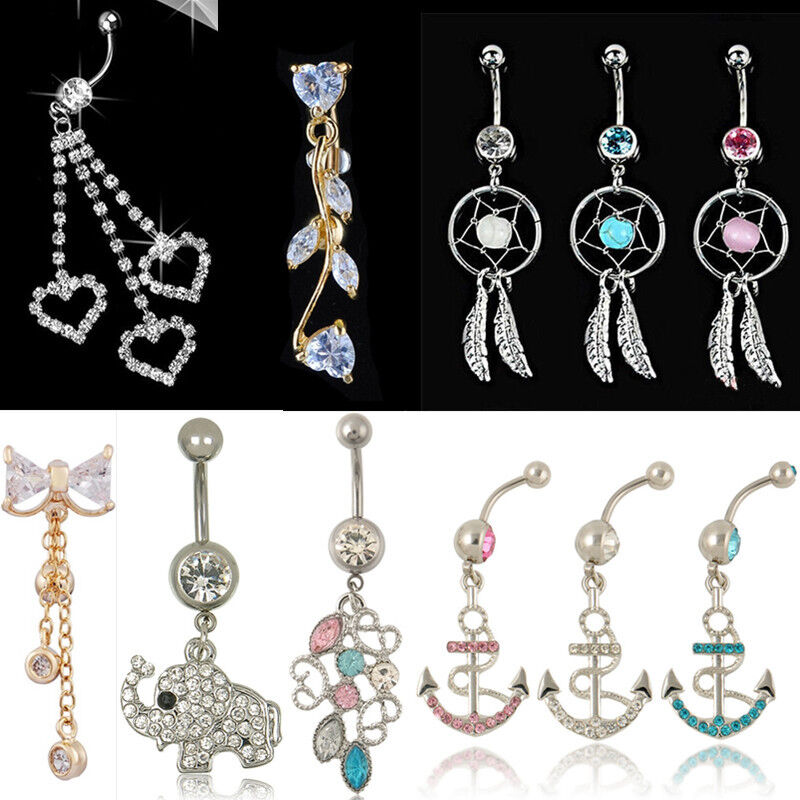 Hottest crystal button dangle barbell bar belly navel ring for Types of body jewelry rings