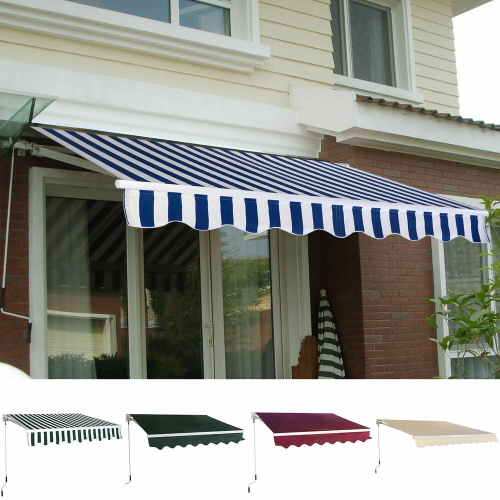 Manual Patio 8.2'×6.5' Retractable Deck Awning Sunshade