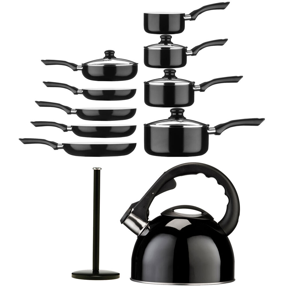 Black ecocook kitchen non stick pots and pans stainless for Kitchen set non stick