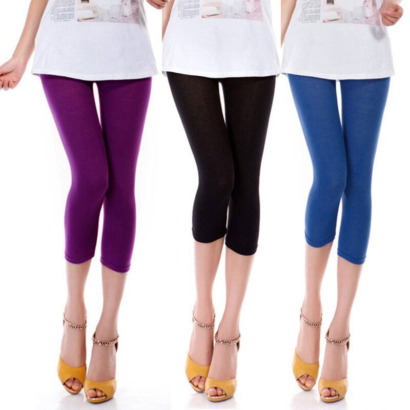 Women 3/4 Length Cotton Slim Casual Black Leggings Skinny ...
