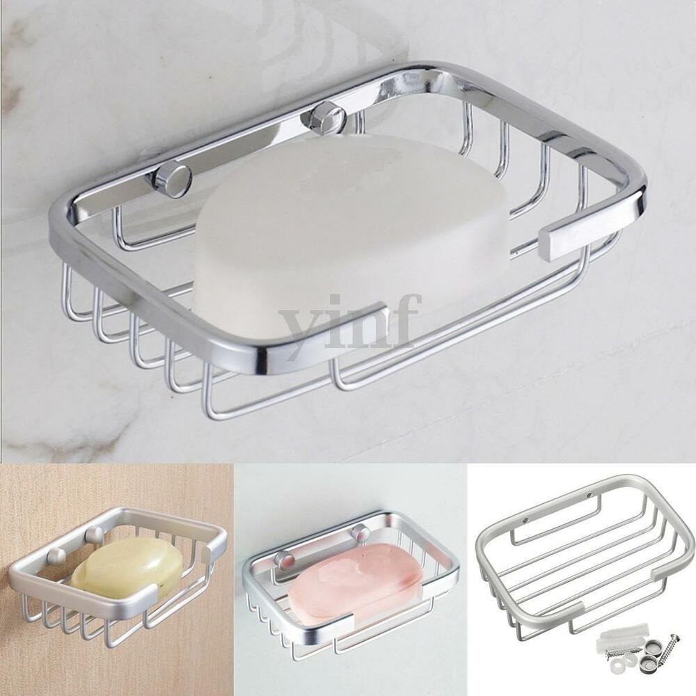 Wall mounted bathroom shower soap holder aluminum space bath soap dish case ebay for Wall mounted soap dishes for bathrooms