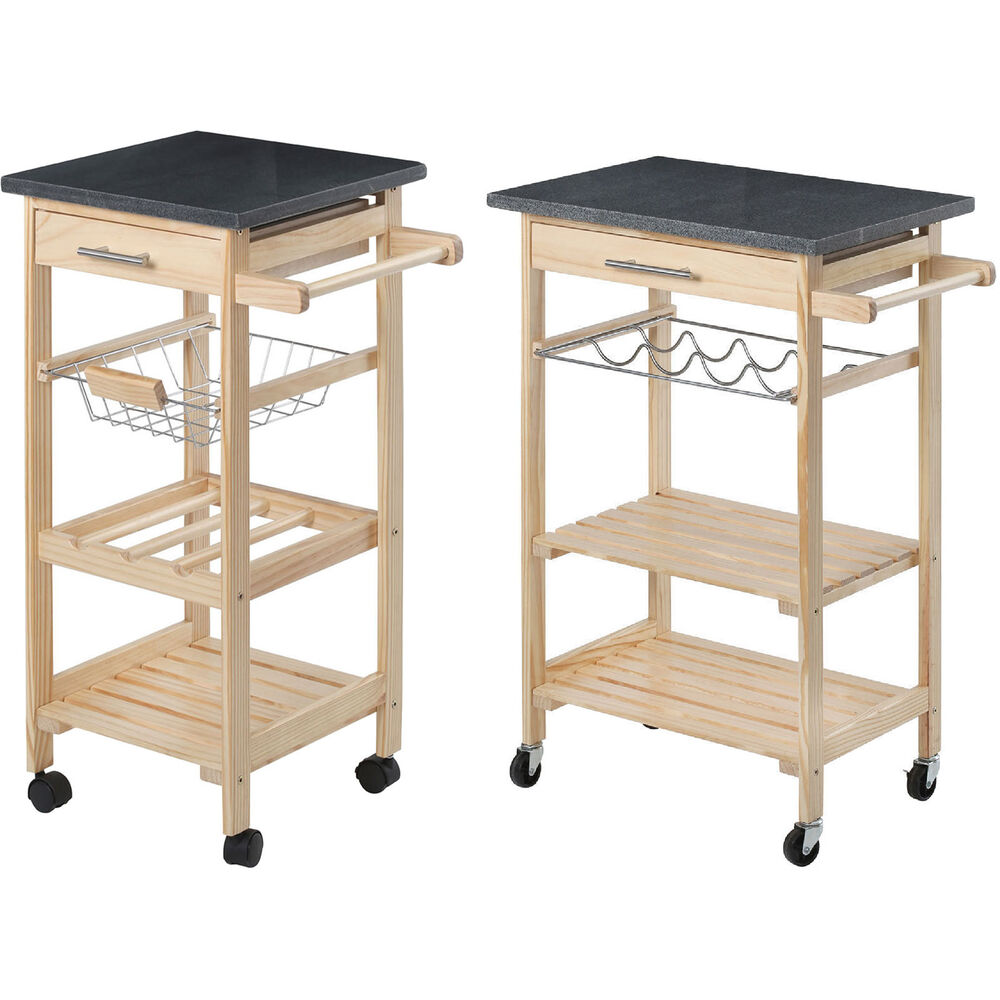 Kitchen Trolley Island Cart Wheels Wood Granite Chopping Board Basket Rack Shelf Ebay