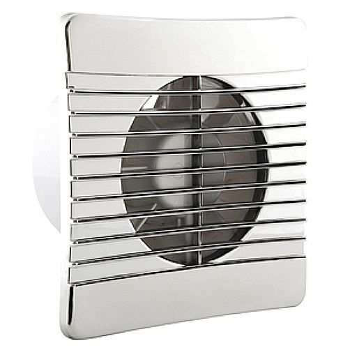 "Chrome Effect Slimline Bathroom Fan - 4"" 100mm Low Profile Extractor With Timer"