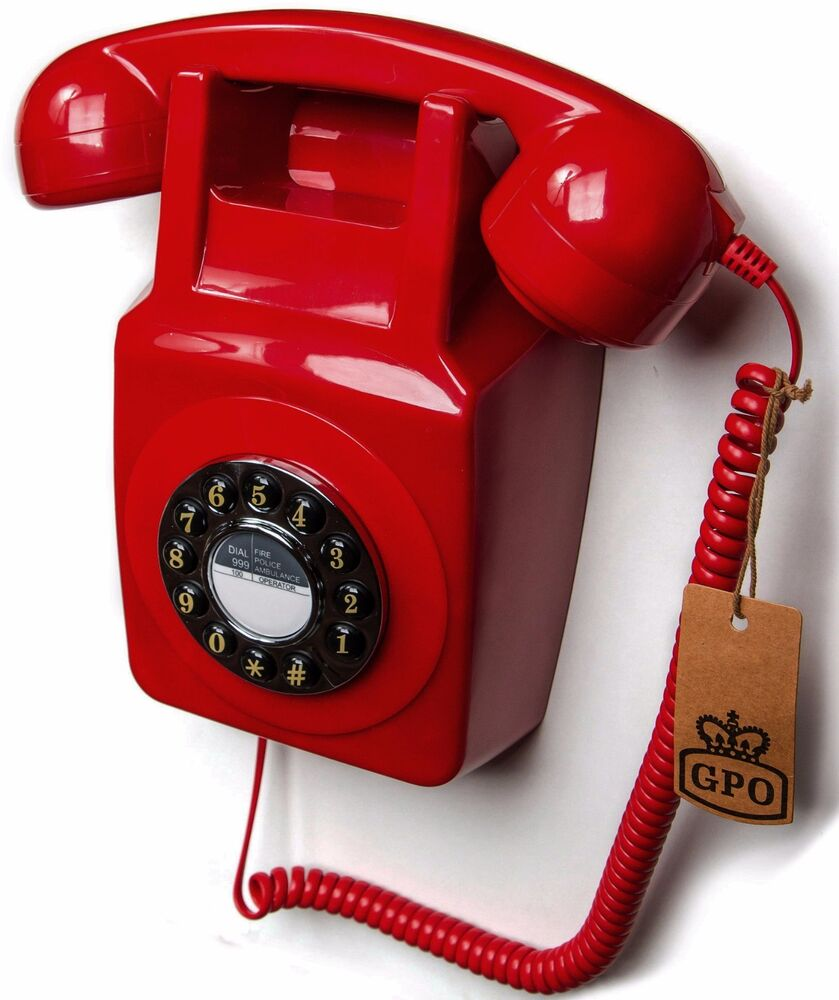 Wall mounted phone retro red corded telephone gpo 746wp for Telephone mural 1970