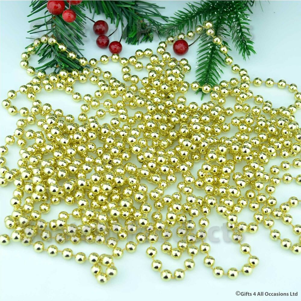 22f gold hanging bead garland christmas tree xmas tinsel How to hang garland on a christmas tree