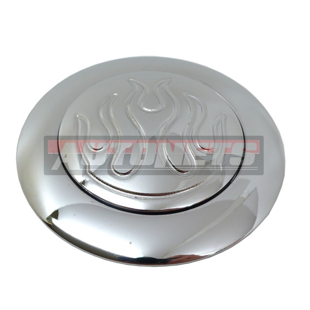 flame fire chrome aluminum steering wheel horn button chevy gm 9 hole mount ebay. Black Bedroom Furniture Sets. Home Design Ideas