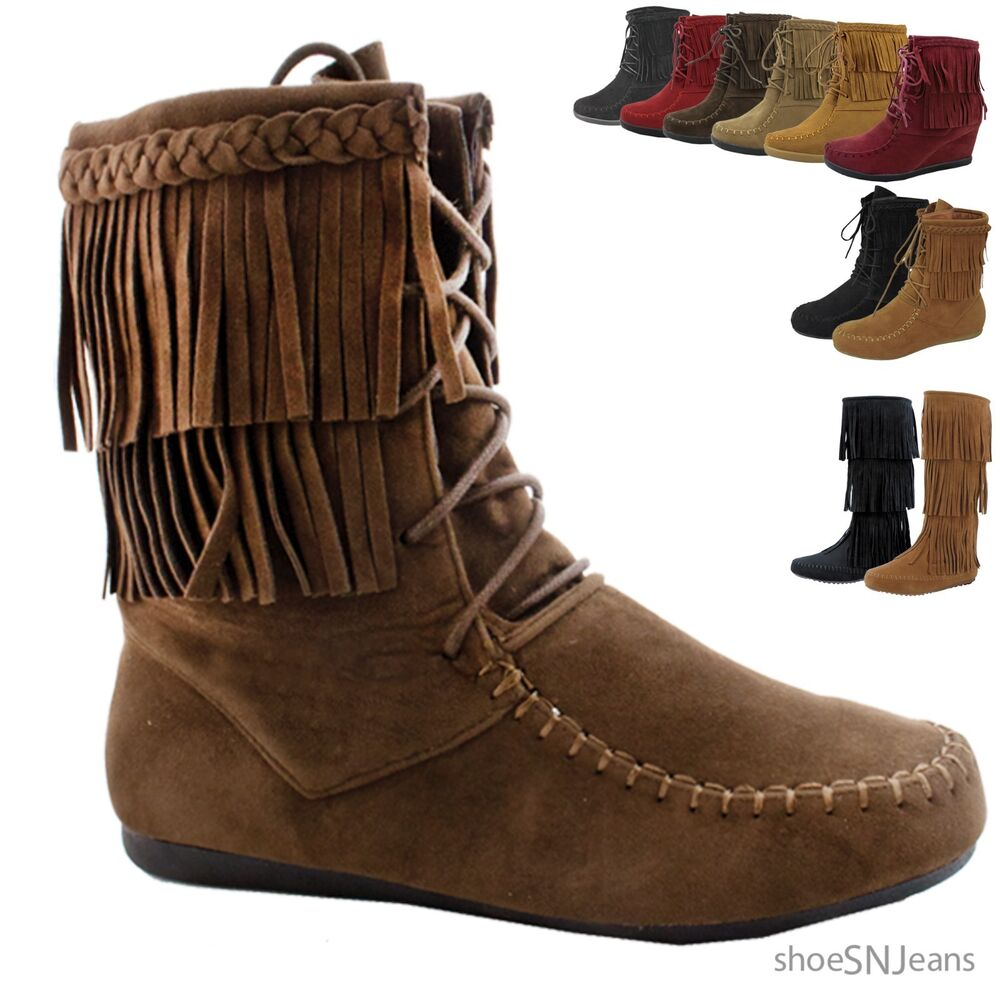 new fashion comfy lace up fringe ankle high boot