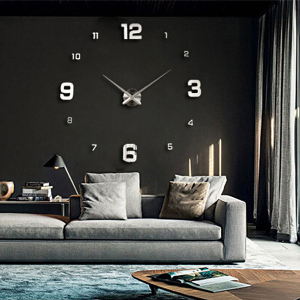 modern art design big diy 3d mirror wall workable clock. Black Bedroom Furniture Sets. Home Design Ideas