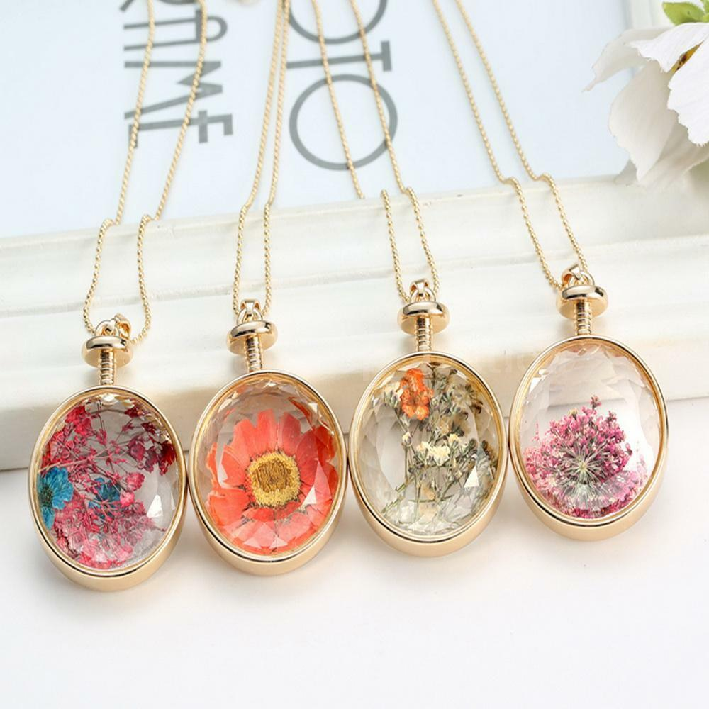 Natural Dried Flowers Locket Pressed Plant Round Pendant