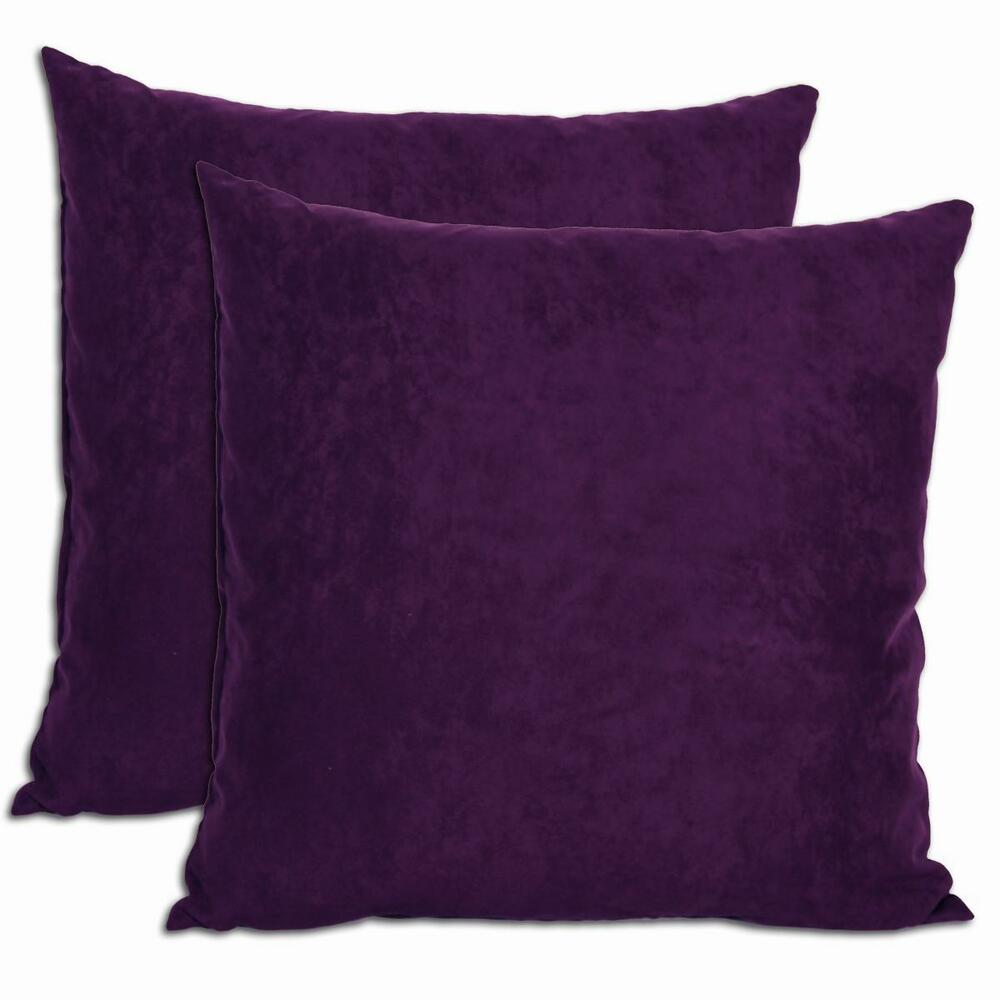 Down Throw Pillows For Couch : Purple Microsuede Feather and Down Filled Throw Pillows (Set of 2) eBay