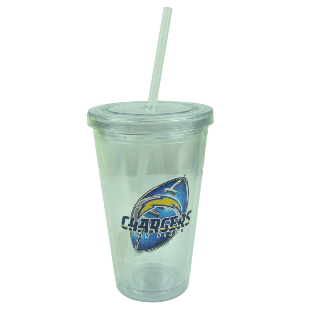 Nfl San Diego Chargers Tumbler Cup Straw Lid 16oz Water