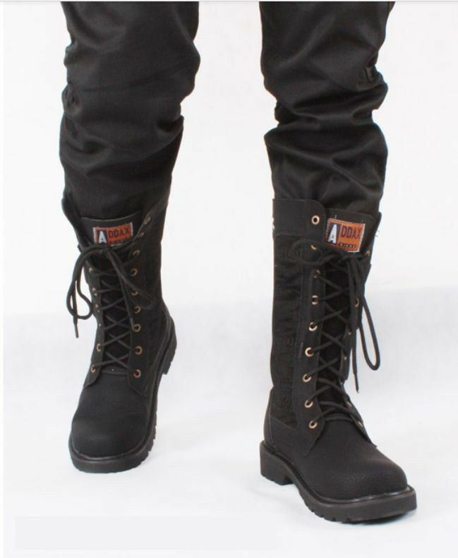fashion new retro mens combat lace knee high motorcycle