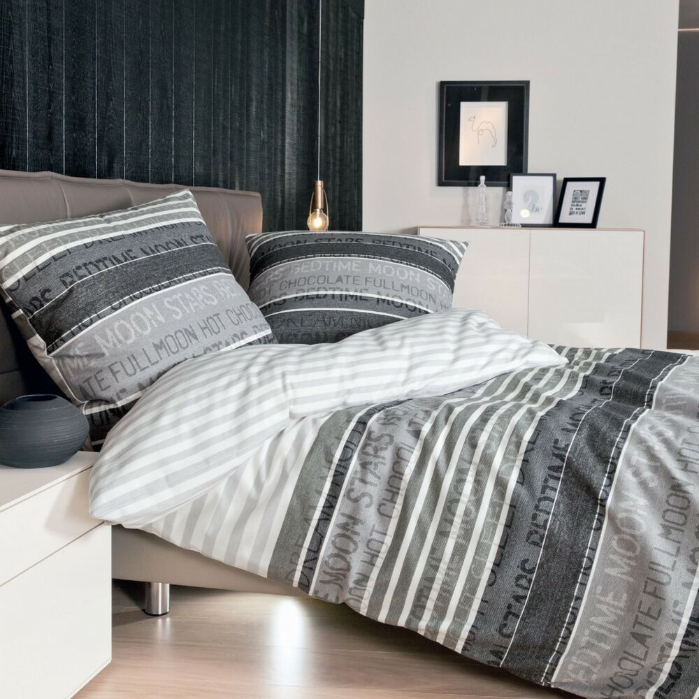 janine bettw sche davos 6481 streifen quer schriftzug herbst winter feinbiber ebay. Black Bedroom Furniture Sets. Home Design Ideas