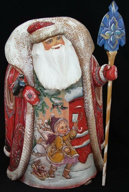 Big heavy russian santa hand carved painted  ebay