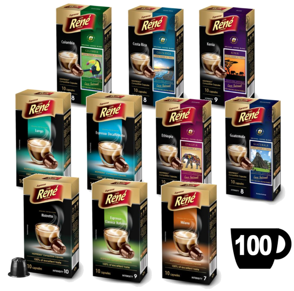 100x nespresso compatible coffee capsules pods featuring 10 great tasting blends ebay. Black Bedroom Furniture Sets. Home Design Ideas