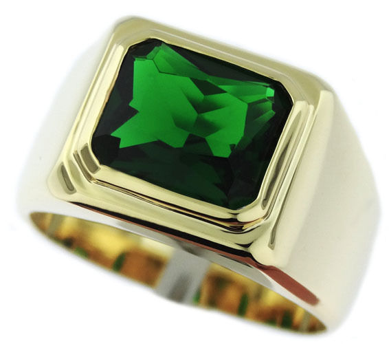 Mens Emerald Green Solitaire 18kt Gold Ep Ring Ebay