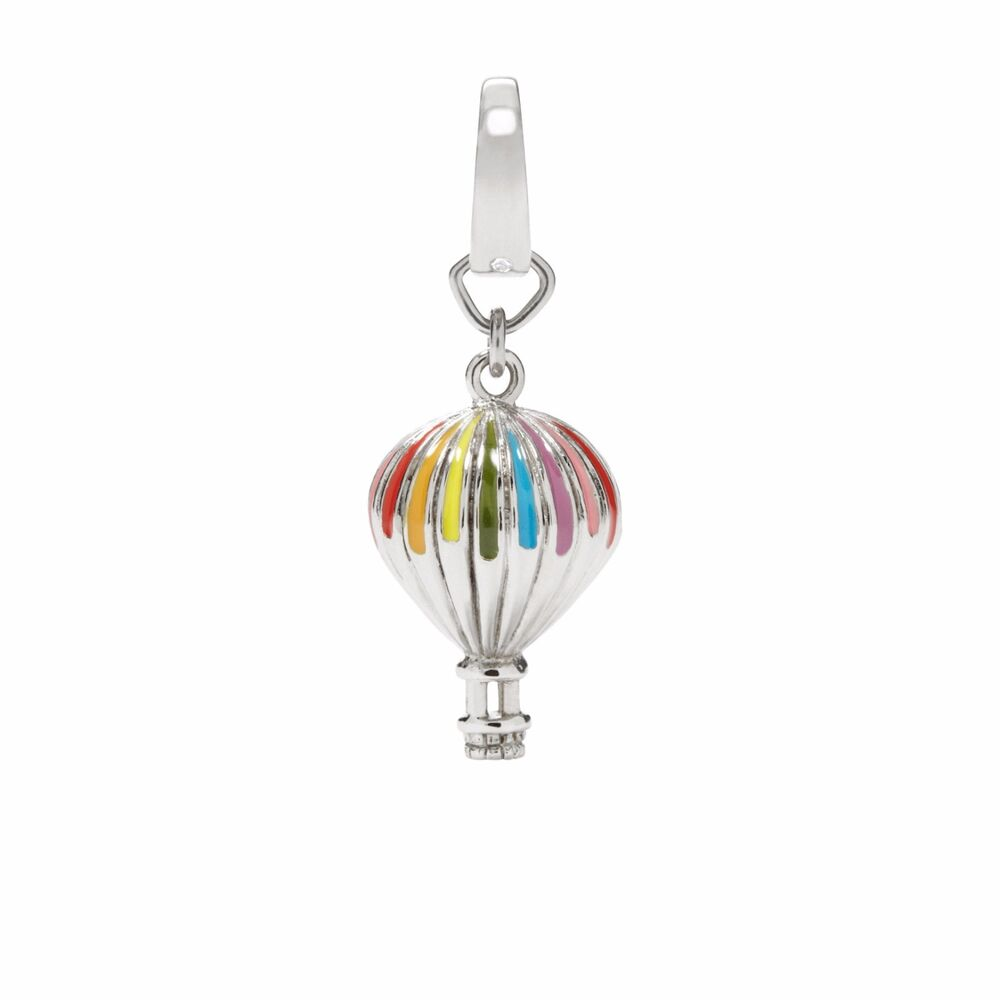 fossil silver tone s steel multi color hot air balloon