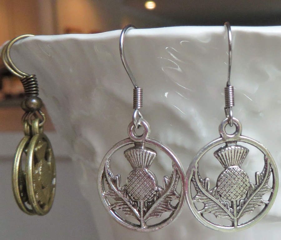 Scottish Thistle Earrings Handmade Outlander Inspired