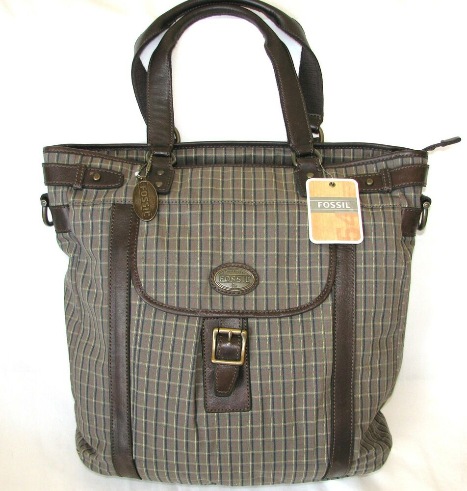 new fossil green plaid canvas estate cvs briefcase cross body hand utility bag